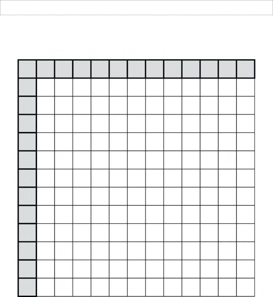 Multiplication Table Printable Blank