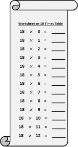 18 Times Multiplication Table Sheet