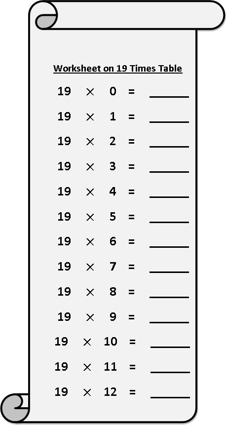 19 Times Multiplication Table Sheet