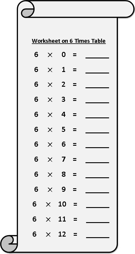 6 Multiplication Table Maths