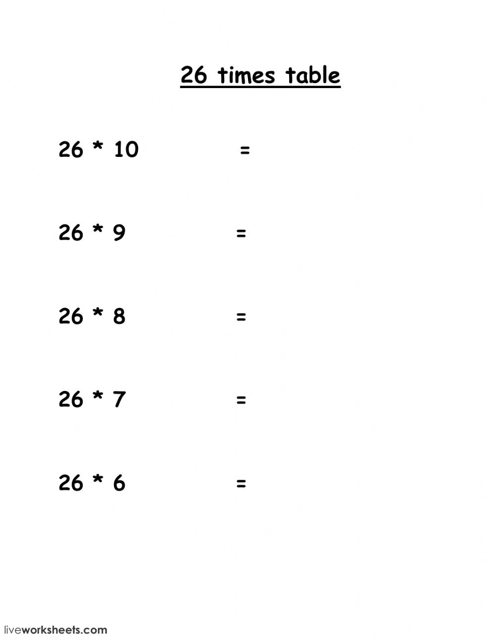 26 Multiplication Table Maths