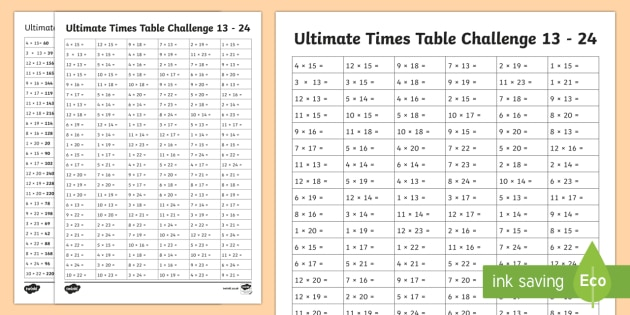 24 Times Multiplication Table Sheet