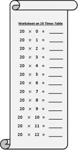20 times Multiplication Table sheet