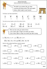 Roman Numerals For Kids Worksheet