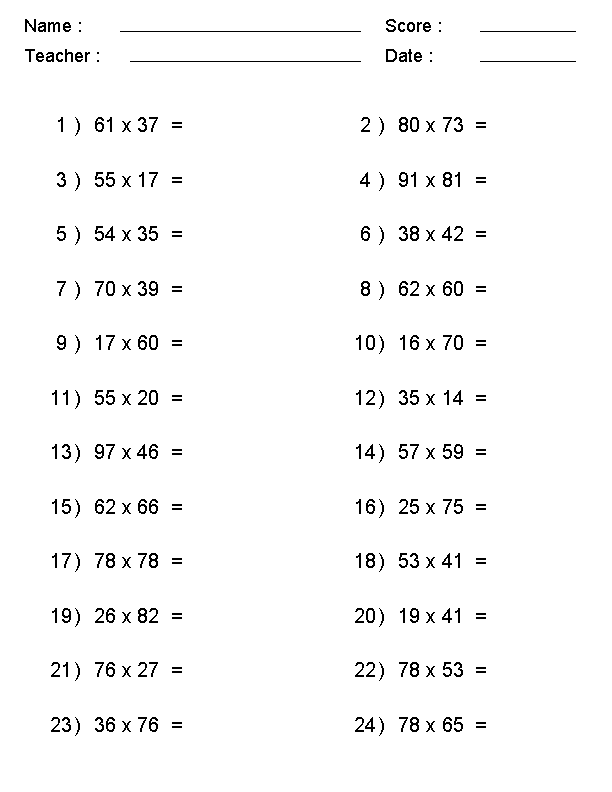 Multiplication Worksheets Grade 10 PDF
