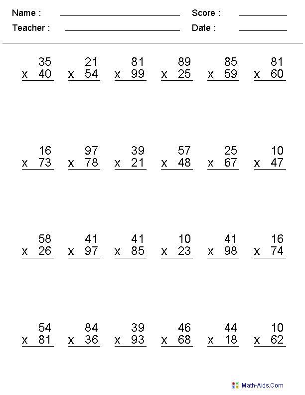 Multiplication Worksheets Grade 6 PDF