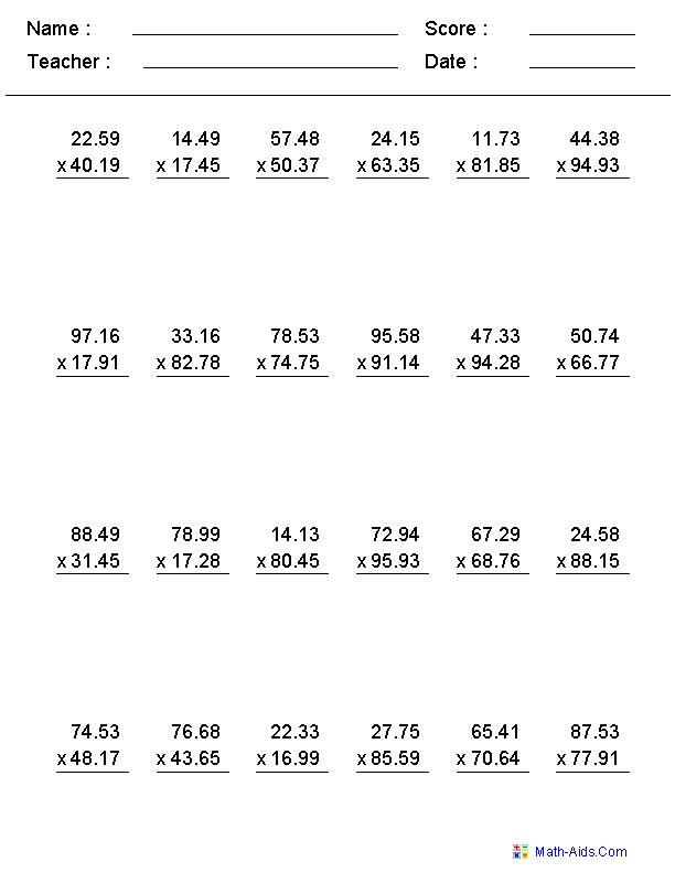 Decimal Multiplication Worksheets Grade 6