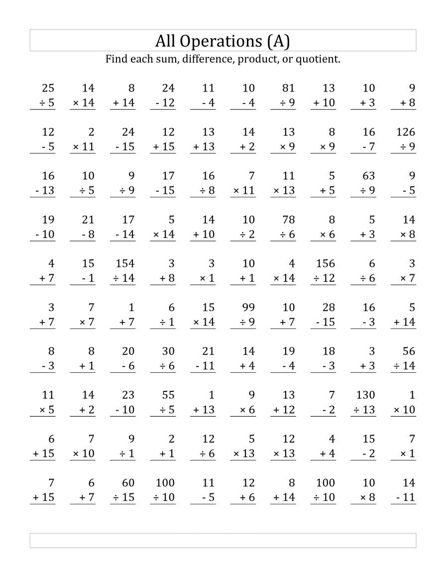 Addition Subtraction Multiplication Division Worksheets PDF