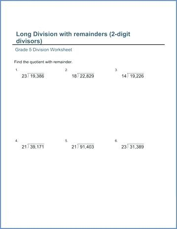 Long Division Word Problems Worksheets 4th Grade