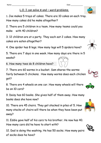 Mixed Multiplication and Division Worksheets for Grade 2