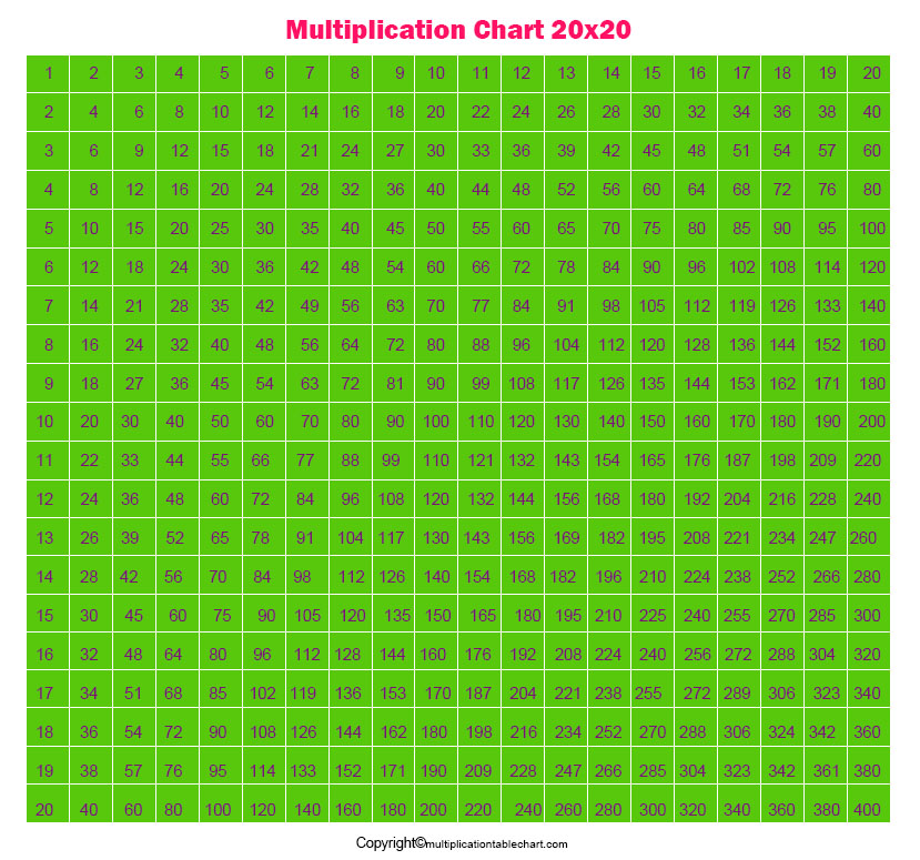 Multiplication Table Grid 20x20